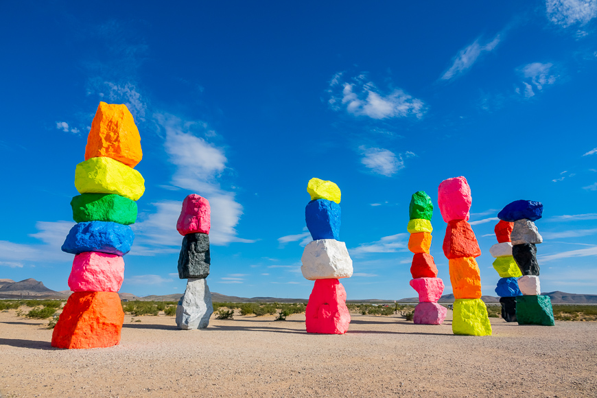 Morning view of the Seven Magic Mountains at Nevada ; Courtesy of Kit Leong /Shutterstock