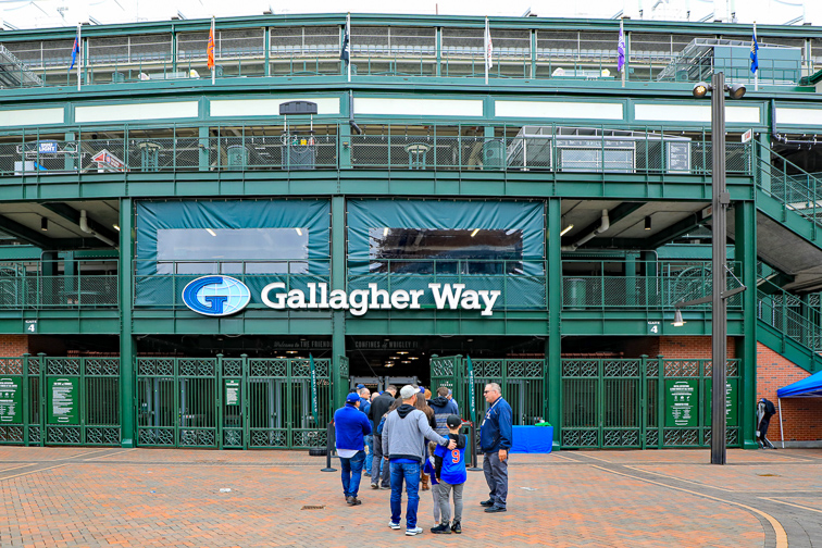 he new Gallagher Way Park at Wrigley Field, on Clark Street, is a gathering place for families, for special events, or pregame festivities.;Courtesy ofThomas Barrat/Shutterstock