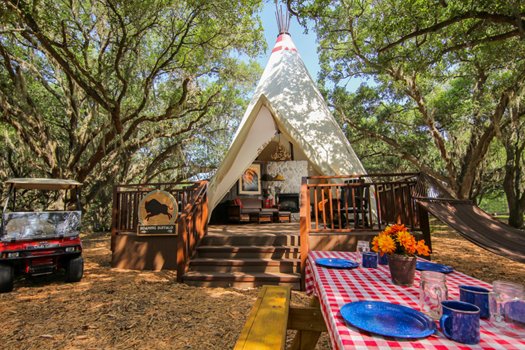 Luxe Teepee at the Westgate River Ranch Resort & Rodeo; Courtesy of at the Westgate River Ranch Resort & Rodeo