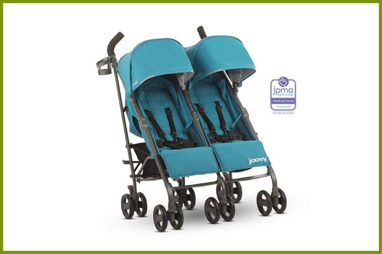 JOOVY Groove Ultralight Double Umbrella Stroller in turquoise