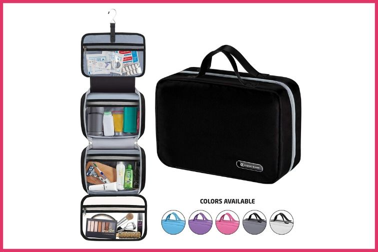 Hanging Travel Toiletry Bag and Shower Organizer Kit