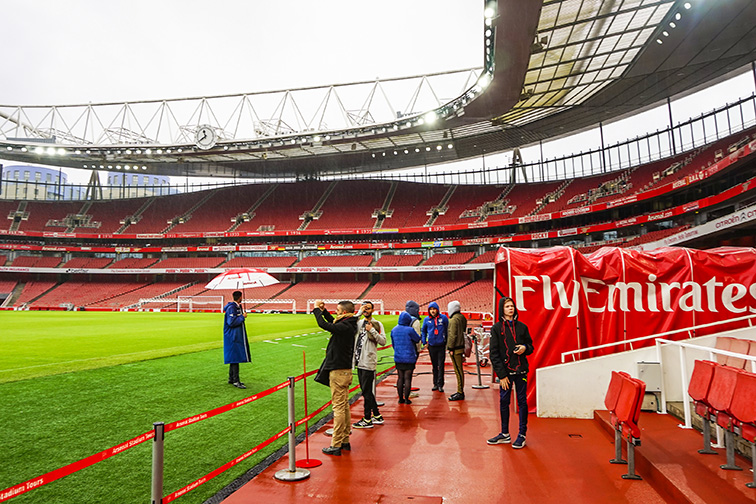 Interior of the famous Arsenal Stadium & Museum. ; Courtesy Pit Stock/Shutterstock