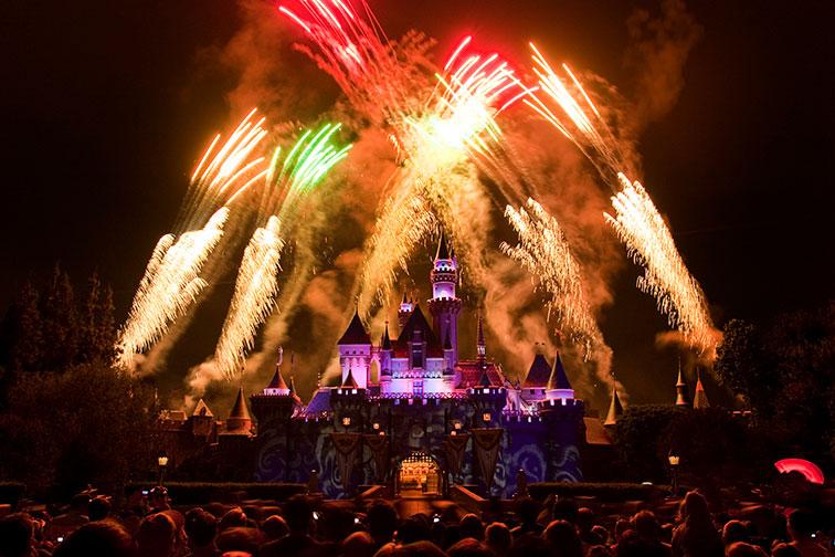 Fireworks at Disneyland in California