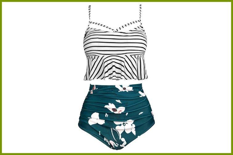 Gabrielle-Aug Retro High-Waisted Ruffle Bikini