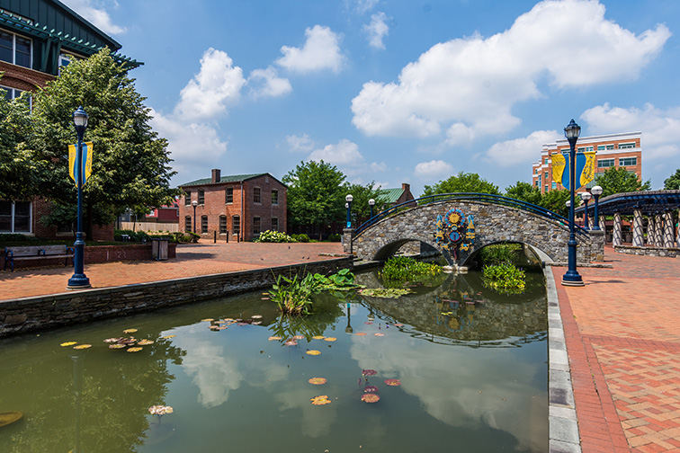 Historic Building in Downtown Frederick Maryland in the Corroll Creek Promenade; Courtesy Christian Hinkle/Shutterstock