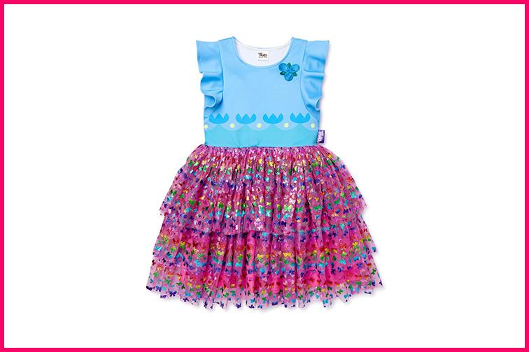 "Trolls World Tour Exclusive ""Poppy"" Flutter Sleeve Dress ; Courtesy Walmart"