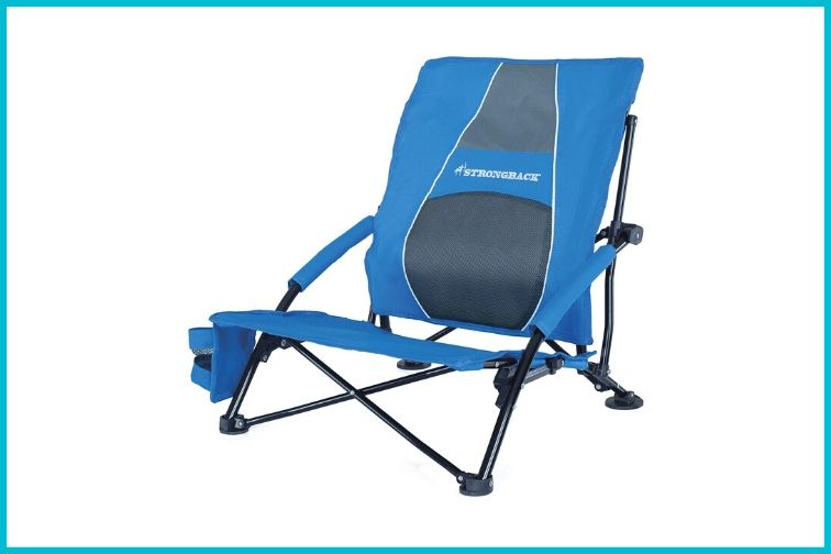 Strongback Low Gravity Beach Chair with Built-in Lumbar Support