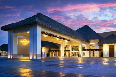 An exterior shot of the Hard Rock Hotel in Punta Cana.