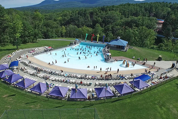 An aerial shot of Riptide Cove Wave Pool.