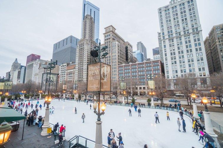 Ice skating at McCormick Tribune Plaza in Chicago, Illinois; Courtesy of Miune/Shutterstock.com