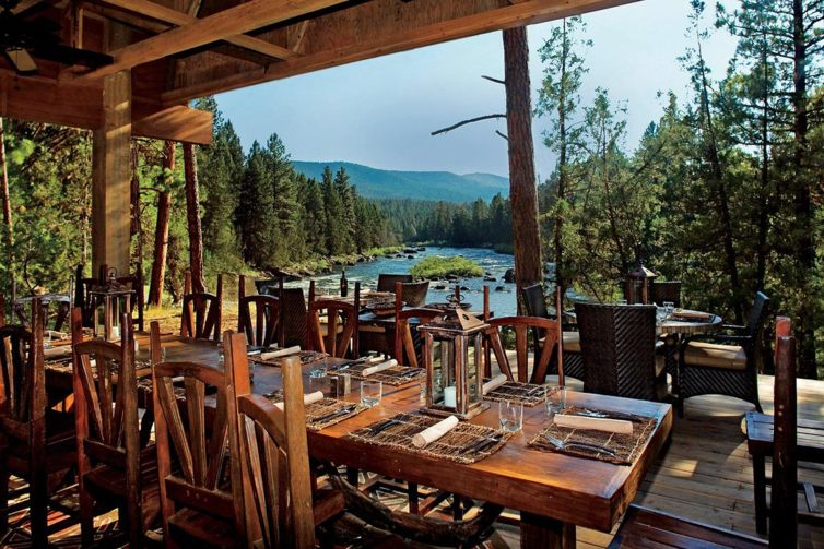 River Camp Dining Pavilion at The Resort at Paws Up in Montana
