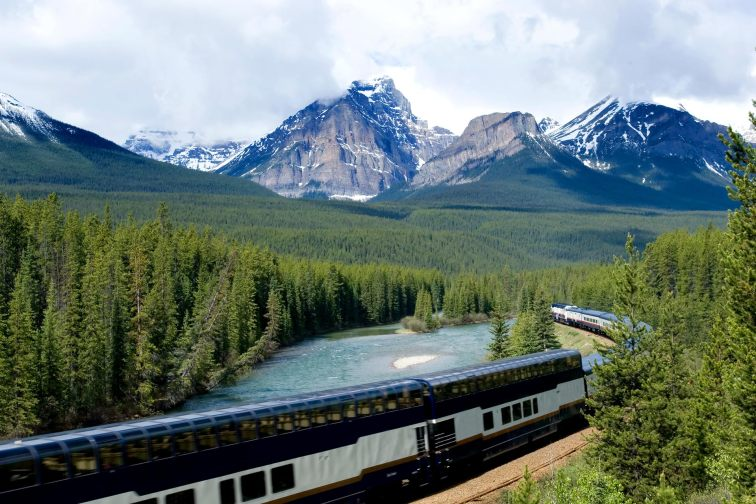 A train in the Canadian Rockies