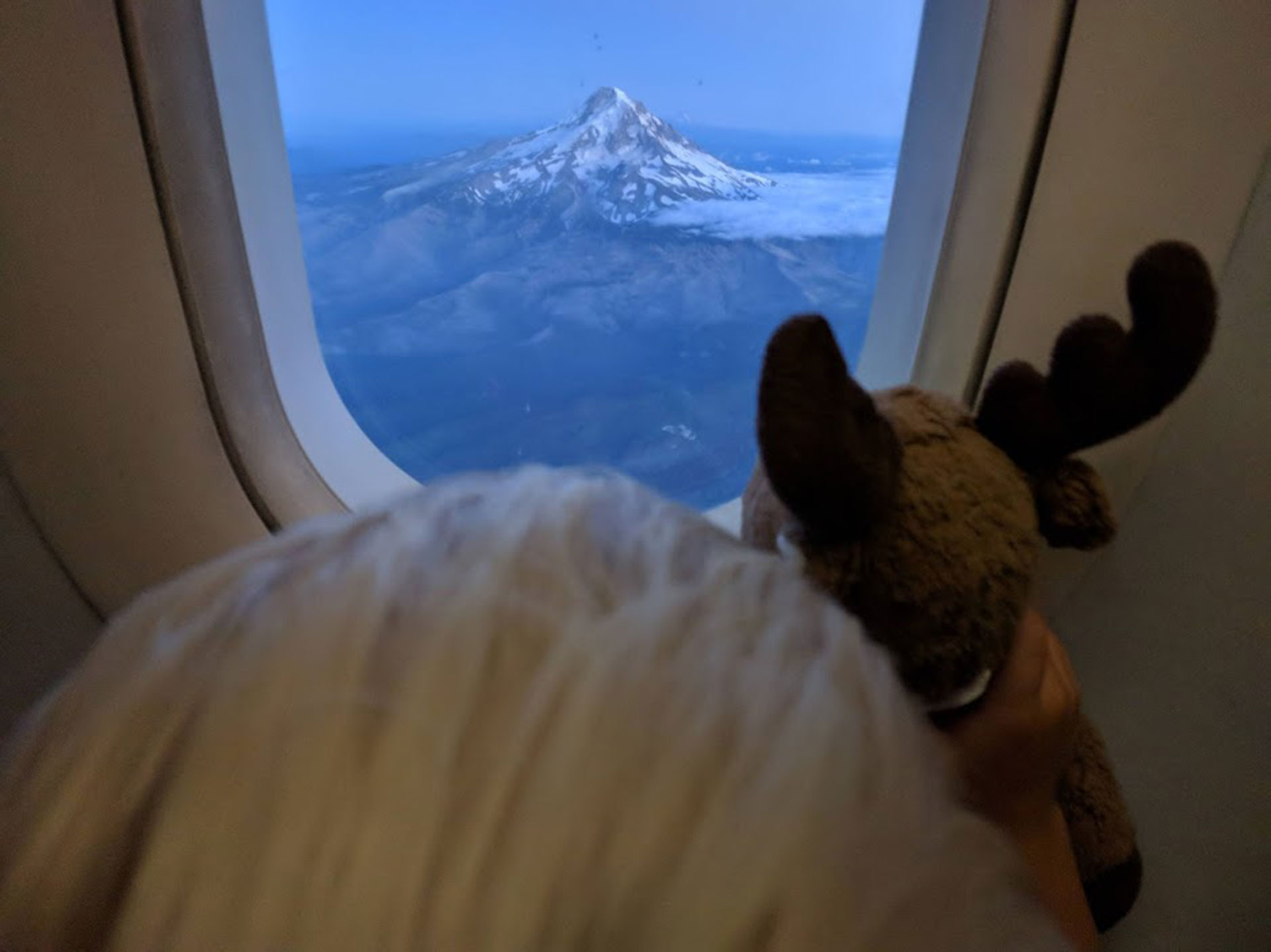 Child looking out airplane window at mountain