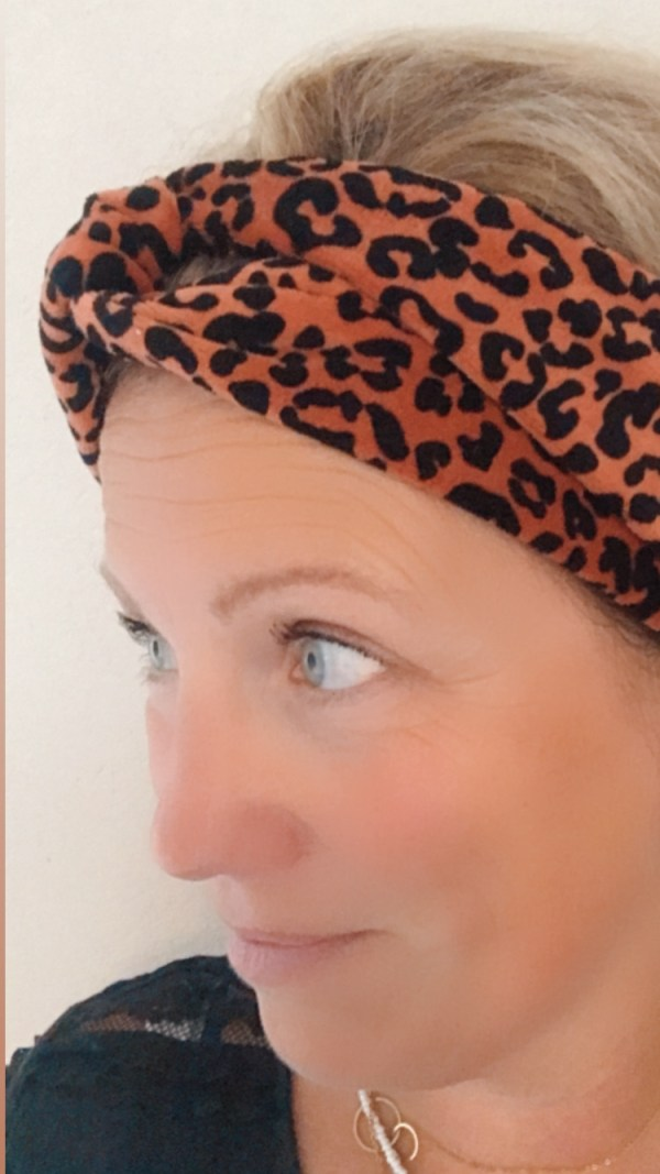 Roestbruin leopard velours