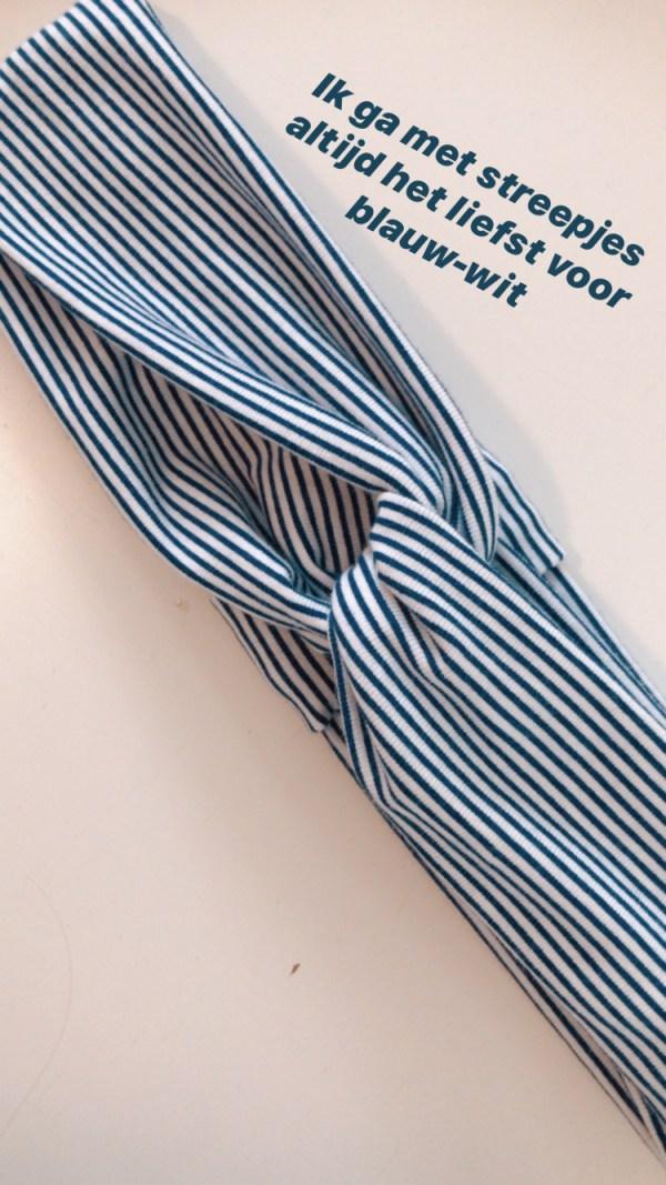 Haarband blauw-witte streep