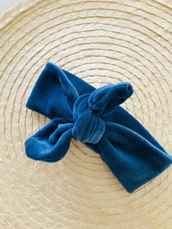 Knoophaarbandje jeansblauw velours