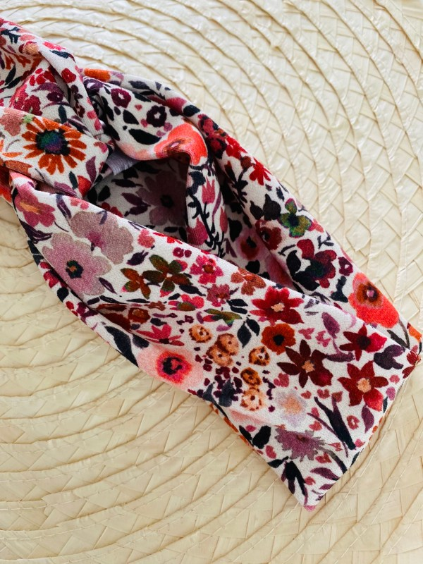 Haarband: bloemenparade in rood/roze