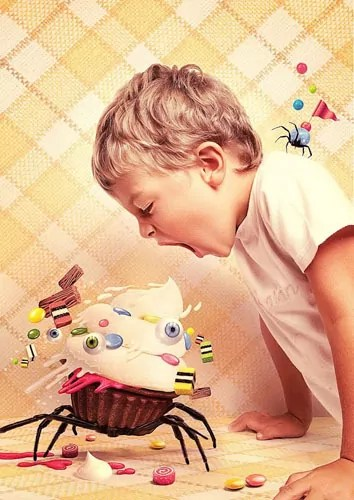 Artwork of boy yelling at cupcake