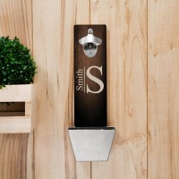 Monogrammed Wall Mounted Bottle Opener and Cap Catcher ...