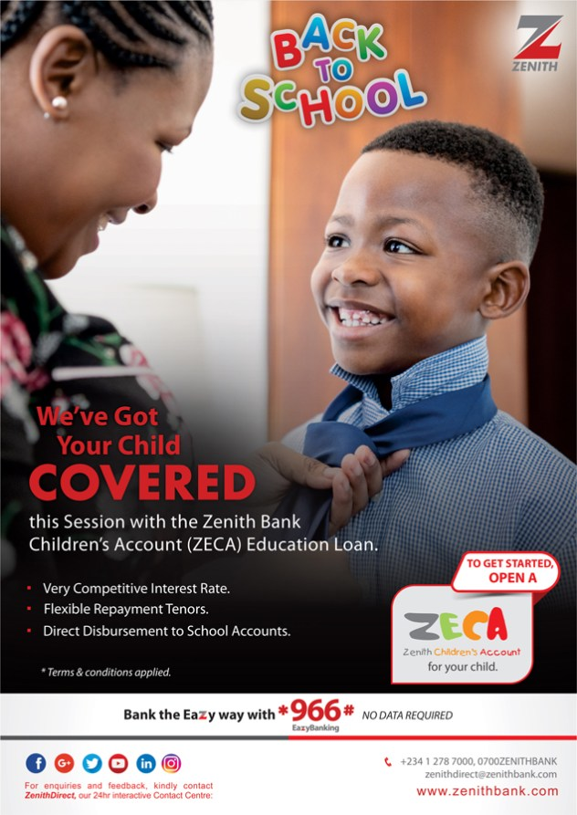 Image result for Zenith Bank offers ZECA education loan for children.