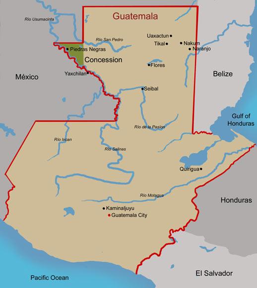 Guatemala Piedras Negras Map