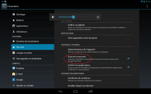 Nexus10 autoriser sources inconnues