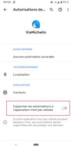 Android 11 Supression Automatique des permissions