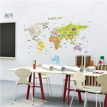 sticker carte du monde geante pour enfants