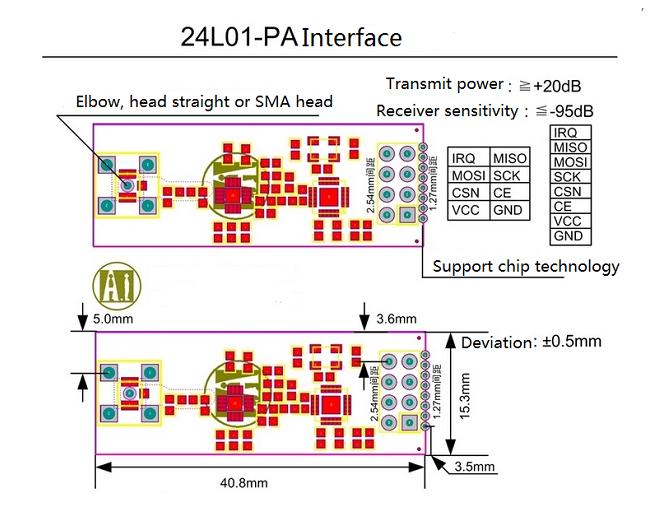 Modulo wireless NRF24L01 + PA + LNA dimensioni