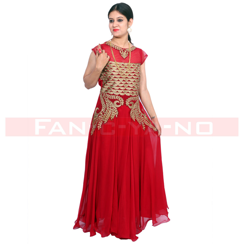 Red Gown With Golden Work and Full Frills - FAN-C-YA-NO