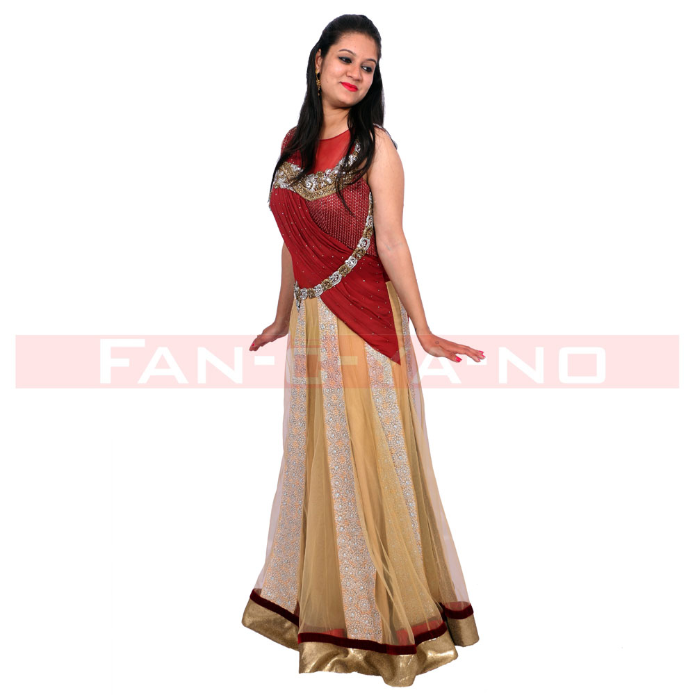 Semi Saree Gown (Maroon and Golden) - FAN-C-YA-NO