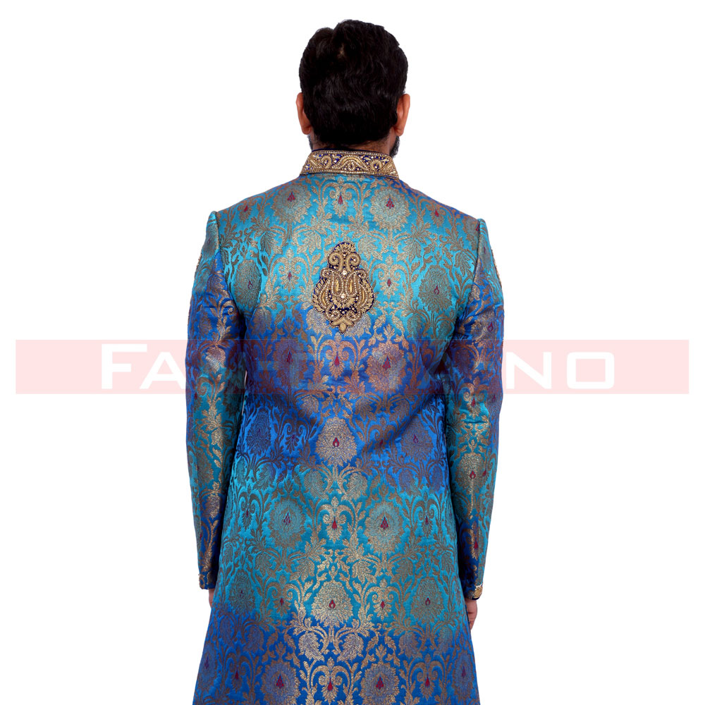 Designer Blue Indo Western with Golden Embroidery - FAN-C-YA-NO