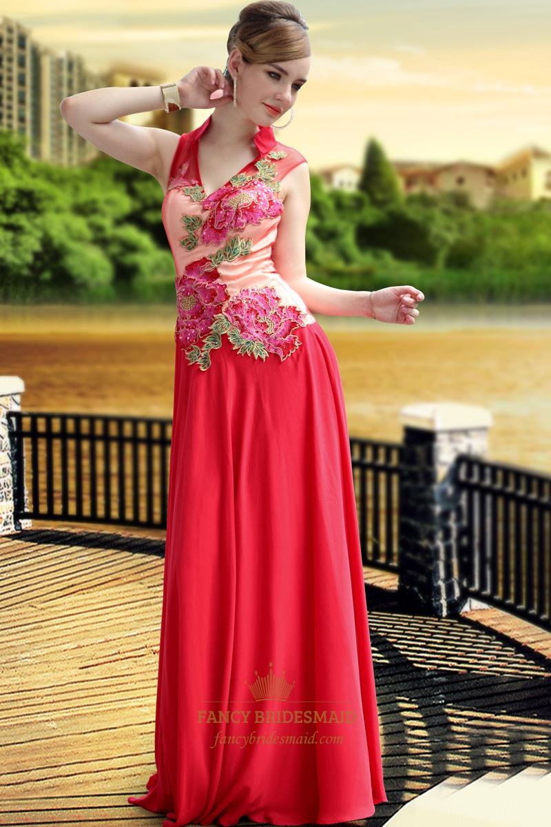 High Collar Red V Neck Prom Dress Tulle Wedding Dresses With Applique  Fancy Bridesmaid Dresses