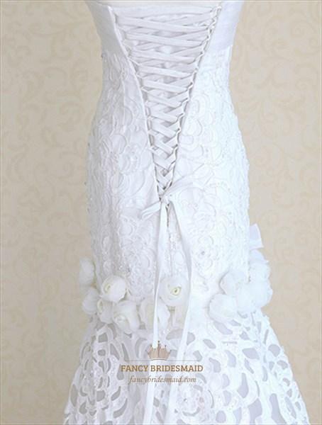 Ivory Satin Mermaid Wedding Dress Sweetheart Mermaid
