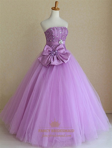 Strapless Ball Gown Wedding Dresses Lavender Sweet Sixteen Dresses  Fancy Bridesmaid Dresses