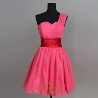 Hot Pink Chiffon Bridesmaid Dress, Short One Shoulder ...
