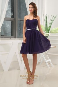 Dark Purple Short Bridesmaid Dresses, Knee Length