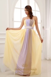 Long Strapless Chiffon Bridesmaid Dresses, Two Tone ...