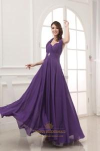 Long Chiffon Halter Bridesmaid Dresses, Long Purple ...