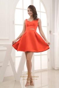 Orange Red Cocktail Dresses, Short Satin Party Dresses ...