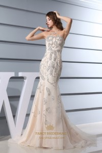 Strapless Beaded Long Mermaid Prom Dress, Champagne ...