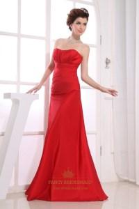 Red Strapless Bridesmaid Dresses, Long Empire Waist ...