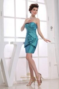 Taffeta Short Bridesmaid Dresses, Teal Blue Strapless ...