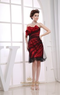 Black Red Strapless Cocktail Dress, Red Knee Length ...