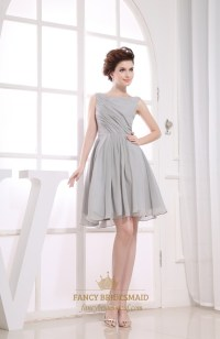 Gray Short Pleated Chiffon A-Line Bateau Bridesmaid ...