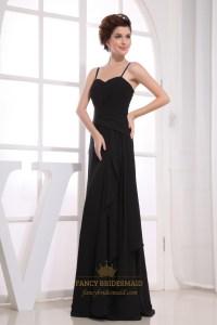 Long Black Chiffon Bridesmaid Dresses, Pleated Chiffon ...