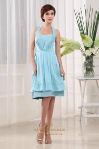 Light Blue Knee Length Prom Dress, Halter Knee Length ...