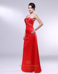 Red Satin Long Bridesmaid Dresses, Empire Waist A Line ...