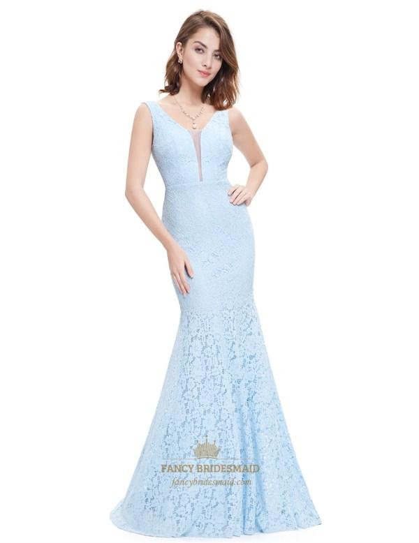 Light Blue Sheer Top Sleeveless Neck Lace Mermaid