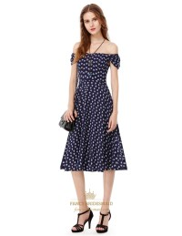 Off The Shoulder Printed Short Sleeve Casual Tea Length